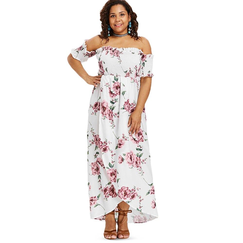 Wipalo Plus Size Floral Print Empire Waist Off Shoulder Dress ...