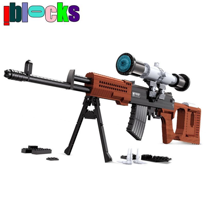 IBLOCKS 712pcs SVD Sniper Rifle Scale Models &amp; Building Toy For Boys Military Hobby Weapon Simulation Gun Assemblage Blocks<br><br>Aliexpress