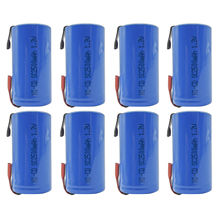 8PCS Sub C 2500mAh 1.2V Ni-CD Rechargeable Battery Tabs Power Tools RC Pack Blue