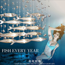 novel creative crystal glass flying fish chandelier for restaurant living room dining room decor(China)