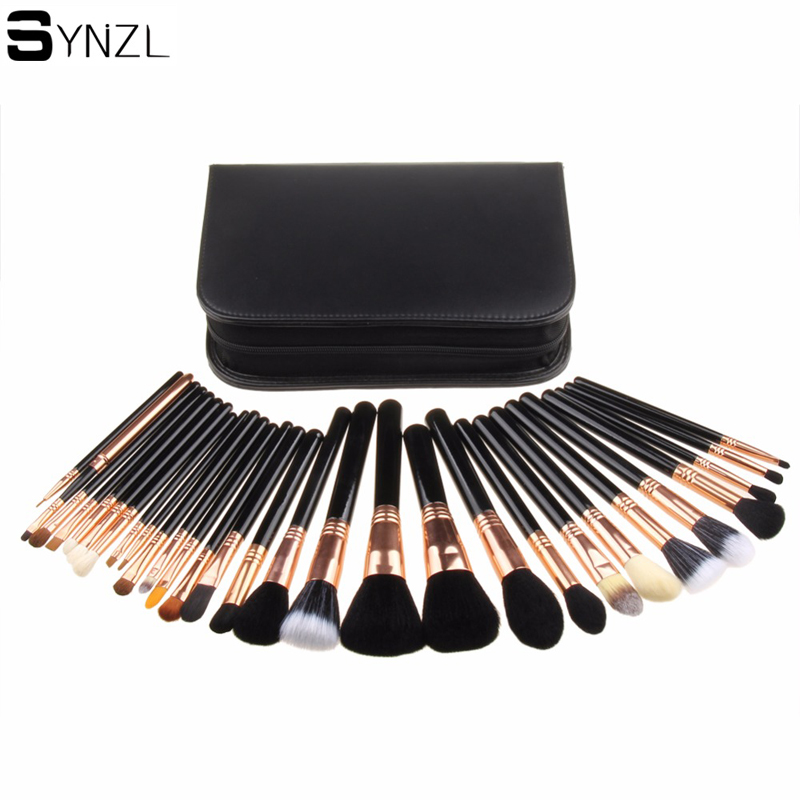 29 pcs Makeup Brushes Professional Cosmetic Brush set foundation powder With Case nature bristle make up brushes<br>