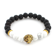 Lava Stone Onyx 2016 New Buddha Bracelets For Women Gold Lion Jewelry Black Yoga bracelet Men Mujer Pulseras bracelets bangles