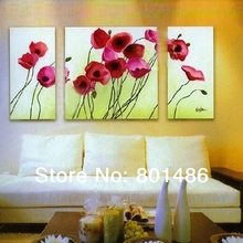 High-quality modern poppy red flower oil painting 3 piece handmade wall art group for home decoration wholesale is welcomed