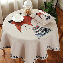 1 Piece Square Linen Cotton Tablecloth Thick Cartoon Fox Printed Table Covers Home Hotel Table Dust Proof Fabric High Quality