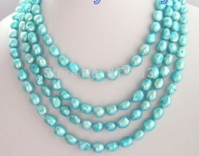 "N1370 80"" Light natural Blue Baroque Freshwater Pearl Necklace Discount AAA"