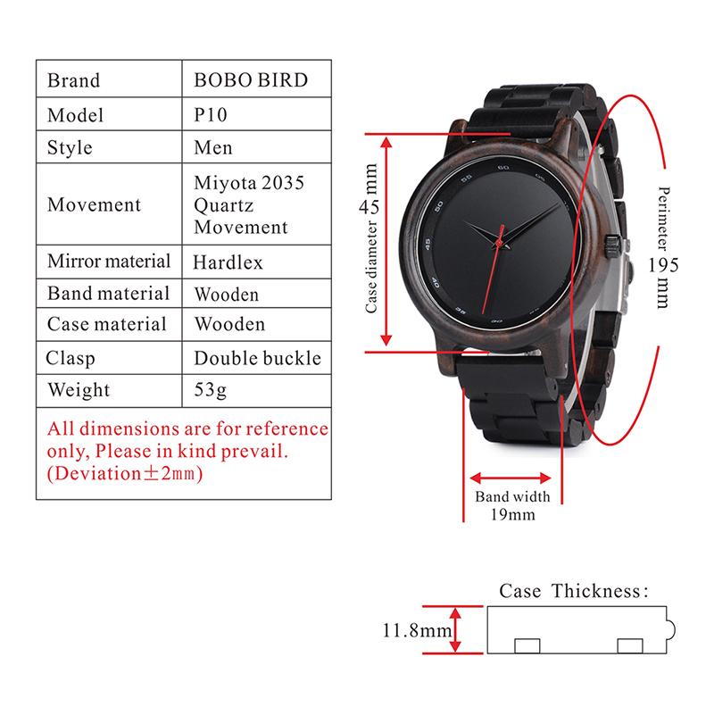 Zegarek drewniany Bobo Bird Black P10 7