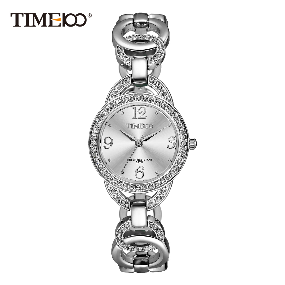 Time100 Luxury Fashion Womens Bracelet Watches Skeleton Silver Stainless Steel Strap Quartz Watches Diamond Dial Wrist Watch<br>