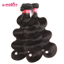 West Kiss 100% Human Hair Products 1 Bundle Malaysian body wave Hair Weaving 8-30 inch Natural Black Non-Remy Hair Extensions(China)