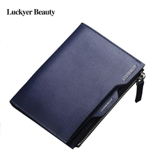 Brand Men Wallets Leather Designer Wallet With Zip Coin Pocket Casual Solid Short Wallets Fashion Man Purse 101(China)