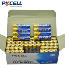 60pcs/box PKCELL 1.5V Carbon Battery AAA R03P Carbon-Zinc R03 UM-4 AAA Primary Dry Battery 4/shrink wrap packing