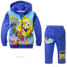 cute baby kids hoodie pants set  plus velvet cartoon sponge Bob tops pants set for 2-8yrs children boys girls outerwear set hot