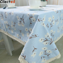 Cilected Home Tablecloth Blue Flower Design Korean Style Countryside Table Linen Cotton Kitchen Handmade Customized Tablecloth T