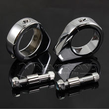 2pcs Chrome Aluminum Motorcycle Turn Signal Mount Bracket 41mm Fork Relocation Clamps For Harley D15(China)