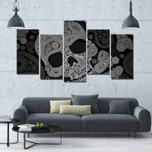 5 Panels Hd Printed Calavera Skull Painting Canvas Print Room Decor Print Poster Picture Canvas P0232 vendor supplier(China)