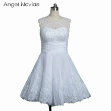 Angel Novias Cheap Knee Length Wedding Dresses 2017 Pearls Beading Fast Shipping