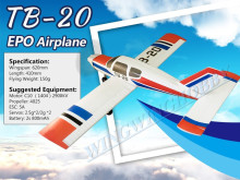 Free shipping Clearance product RC Airplane Fixed Wing EPO hot sell toy Plane Wingspan 620mm TB20 Model Kit