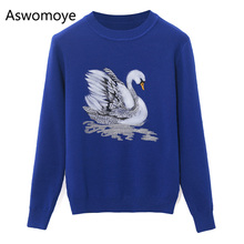 2018 Spring New Stylish Women Sweaters Embroidery Swan Pattern Loose Knitted Garment Female Pullovers Full Sleeve Shirts Tops(China)