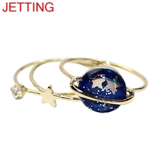 JETTING 3 pcs Blue Star Planet Saturn 13MM Joint Finger Rings Set For Women Girls Trendy Jewelry