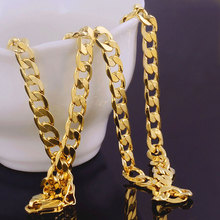 2017 New Fashion HIPHOP Rock Necklace Yellow Gold Filled Solid Cuban Curb Chain Mens Fashion Necklace
