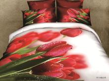 dropship polyester 3D flower horse orange rose bedding bed sheet set bedclothes duvet cover set bedding set