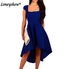 Loneyshow Formal Dress Plus Size Empire Summer Dress 2017 Vintage Asymmetrical Trumpet Women Dress Elegant Vestidos For Female