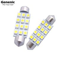 2Pcs New Pure White Crystal Blue 42mm C5W Canbus 12SMD Led Bulb 2835SMD Car Automotive Lamp DC12V Light License Plate Light Bulb(China)