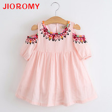 JIOROMY Summer Girl dress 2017 Cotton Dress Strapless Embroidery Princess Dress For Girls Children's Clothing Apparel