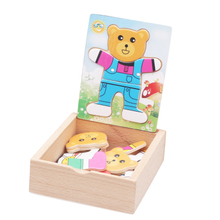 Educational toys wooden clothing bear Dress change clad collocation stereo jigsaw puzzle game children creative gift 1pc