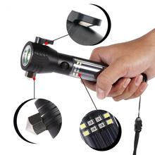 Multifunctional Safety Hammer Mobile Solar Power Flashlight Portable Emergency Rescue Tool Lamp
