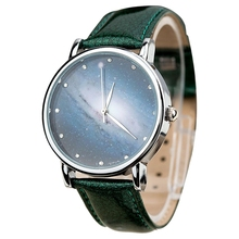 Wristwatch Women Leather Analog Watch Fashion Star Moon Meteor Series Color: Green(China)
