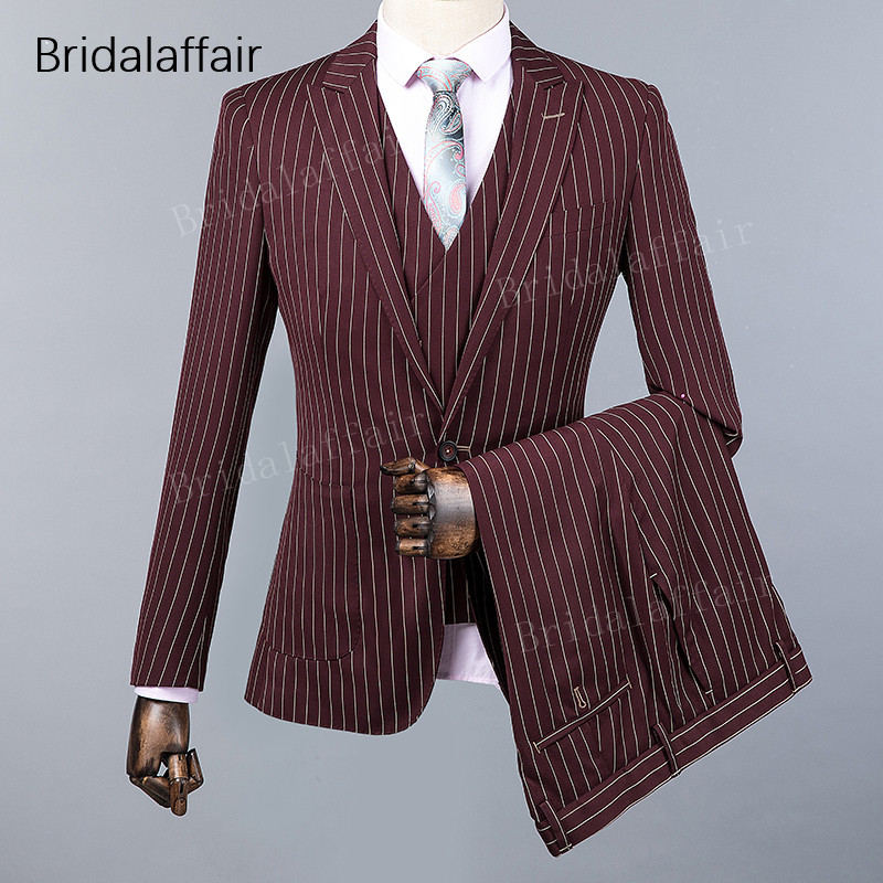 KUSON Latest Designs Burgundy Men Suit Stripes Printed Blazer Formal Prom Wedding Suits For Men 3 Piece Tuxedo Jacket Pants Vest