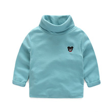 HOT Spring Autumn kids Turtleneck T-shirt Solid color Cotton long-sleeved boys girl baby sweatshirts hoodies children clothing