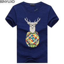 BINYUXD Pure cotton Short Sleeves Hip hop Fashion Mens T-Shirt T Shirt O-Neck Summer Personality Fashion men large size t-shirts