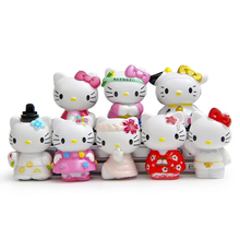 8pcs Kawaii Hello Kitty Fairy Garden Decor Home Accessories Dollhouse Miniatures Terrarium Figurines Bonsai Flower Succulent DIY