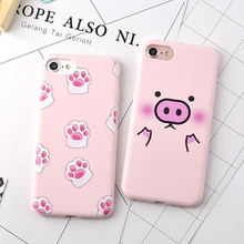 New Soft TPU Shell Cellphone Cases For Apple iPhone 6 6G 6S 6Plus 7 7Plus 5.5 Cute Pink Piggy Cat Paw Cartoon Candy Rubber Cover