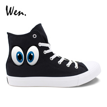 Wen Men Canvas Sneakers Black Original Design Cartoon Eyes Pattern Women Casual Shoes White High Top Lace Espadrilles Colors - wen Store store