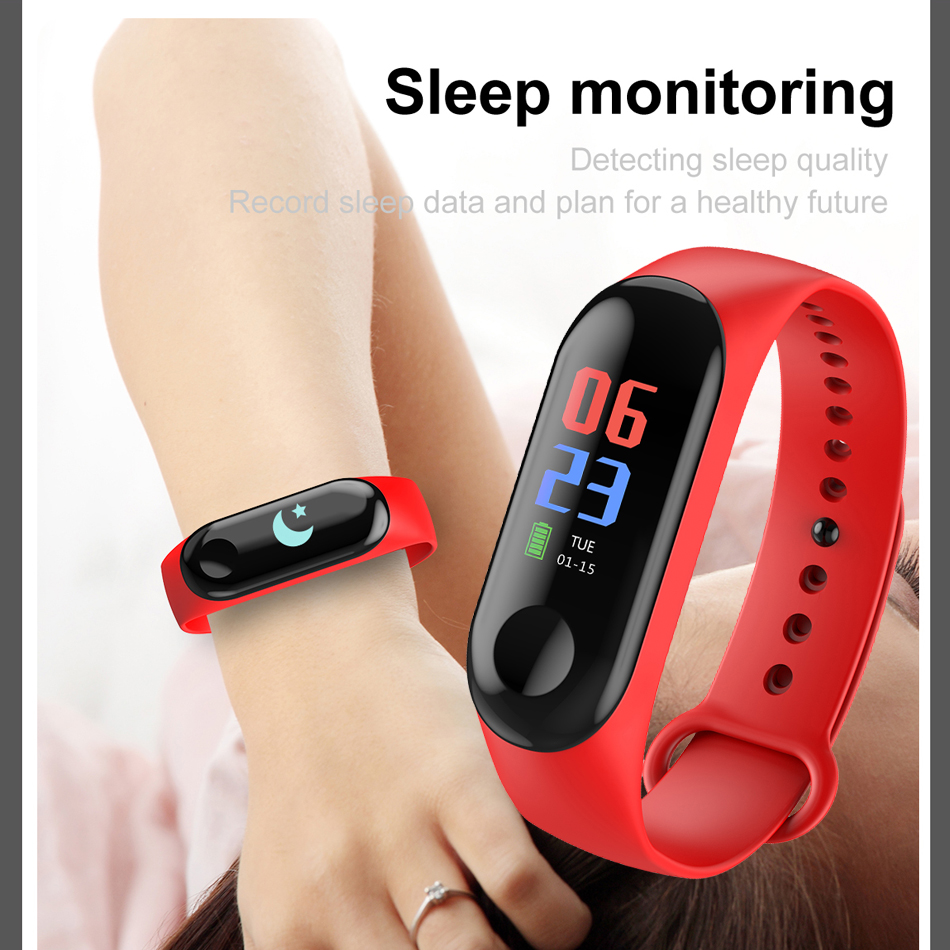 M3 Fitness bracelet pressure measurement Pedometer Fitness tracker Heart rate monitor Oxygen waterproof smart band PK MIBAND 12