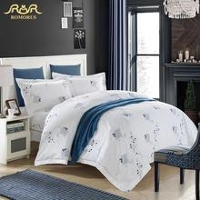 ROMORUS White Hotel Duvet Cover Set Top Quality 4pcs Cotton Stan Hotel Bedding Set King Queen Size with Pillows Free Shipping