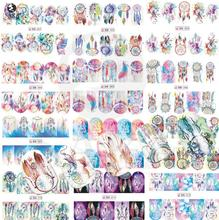 Nail Salon NEW 1pcs Mix Owl Dream Catcher Nail Art Water Transfer Decal Sticker For Nail Art Tattoo SABN301-312
