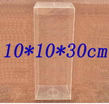 Size:10*10*30cm plastic packaging small boxes clear pvc packing boxes transparent plastic packaging 30pcs/lot
