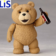 Lis New 8.5CM teddy bear model drinking and running PVC Action Figure Model With Base Collection Boy Toy Birthday Gifts(China)