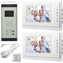 "SUNFLOWERVDP For 2 Private Aaprtments Doorphone For Video Intercom 700TVL CCD HD Camera Electronic Doorkeeper 7"" Color Monitors"