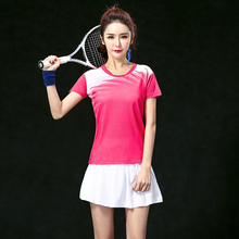 2017 Badminton clothes sets Women's Jerseys , Female Tennis sets  ,Table Tennis sets , Tennis shirt + skorts Pink set 5063B