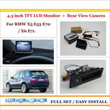 "In Car 4.3"" Color LCD Monitor + Car Rear Back Up Camera = 2 in 1 Park Parking System / For BMW X5 E53 E70 / X6 E71(China)"