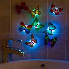 Colorful Butterfly Night Light Home Room Party Wedding Decoration Lights Lamp Wall Stickers Children Kids Gift Battery Included
