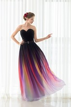 In Stock 100% Real Pic Long A Line Evening Dresses Sweetheart Chiffon Colorful Party Prom Gown Lace Up Back