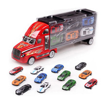 12pcs/lot Portable Plastic Container Truck Alloy Car Model Toys Metal Cars toys for Children kid Birthday Gift