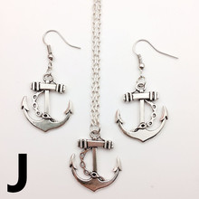 Hot! New Retro Vintage Accessory Antique Silver Bow Ferry Anchor Pendant  Women For Earing+Necklace