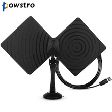 Rotatable 360 Degree 1080P HDTV Antenna 50 Miles Range Indoor Flat TV Antenna with Coaxial Euro Adapter & Bracket & Amplifier(China)