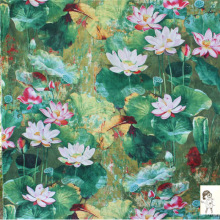 50x140cm Oil Painting Style Japanese Lotus Soft Linen Cotton Cloth Fabric for Sewing Dress Curtain Table Decorations1Pcs/Lot